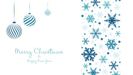 Snowflakes and christmas balls winter blue background. Merry Christmas and Happy New Year. Video backdrop, invitation or greeting card. Vector holiday template.