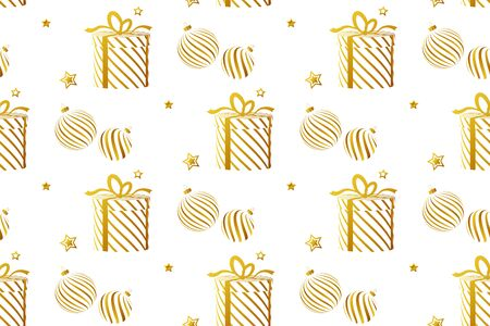 Seamless pattern with golden gift boxes, christmas balls and stars on white background. Vector. Illustration