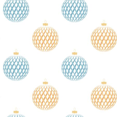 Abstract seamless pattern with blue and yellow Christmas balls. Vector illustration. Vettoriali