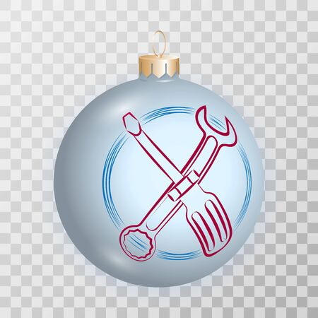 Realistic christmas ball with service icon (screwdriver and wrench) on a transparent background. Vector template for christmas or new year.