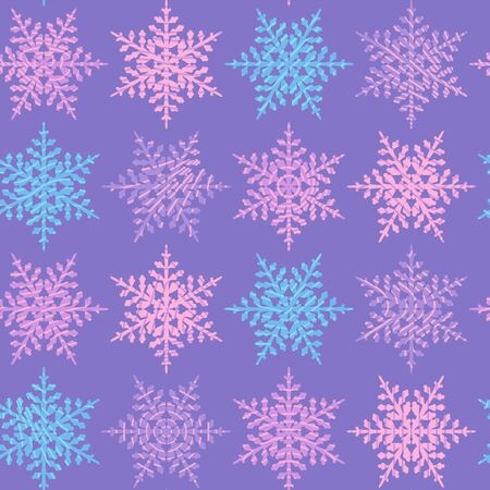 Winter seamless pattern with snowflakes on pink.New Year background. Vector.