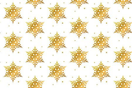 Winter seamless gradient pattern with golden snowflakes on white. Christmas background. Vector.