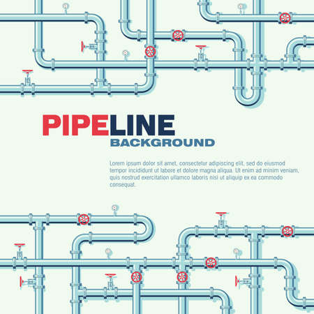Pipeline square vector background with space for text. Branching and intertwining pipes with taps and manometers. Illustration in flat style.