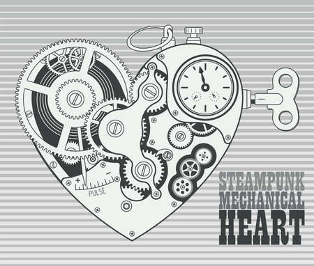 Mechanical heart in steampunk style. Grayscale retro vector illustration. ベクターイラストレーション