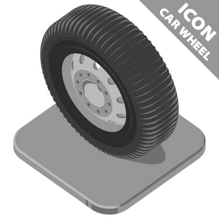 Car wheel on the stand. Greyscale isometry 3D icon on white background. Vector illustration in flat style.