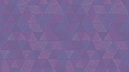 Abstract geometric seamless pattern with hand drawn randomly colored hatched triangles. Vector doodle background.