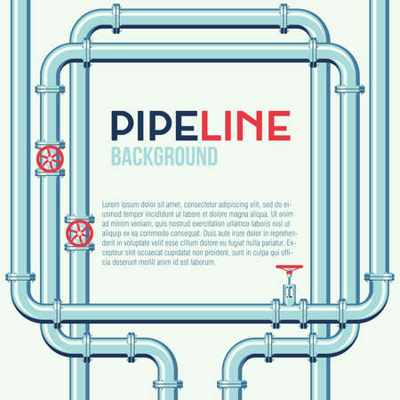 Pipeline square vector background with space for text. Branching and intertwining pipes with taps. Illustration in flat style.