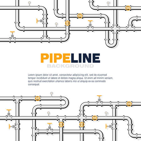 Gas pipeline square vector background with space for text. Branching and intertwining pipes with taps and manometers. Illustration in flat style.