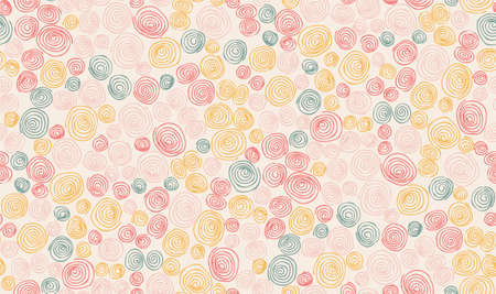 Abstract geometric hand drawn randomly scattered spiral circles seamless pattern. Vector doodle children's style background.