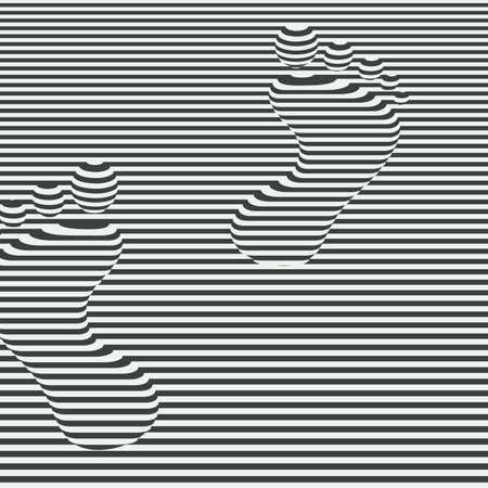 Human footprints. Abstract geometric monochrome 3d background. Vector illustration. Vetores