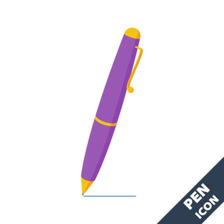 Ballpoint pen icon. Cartoon blue 3D vector illustration in flat style on white background. 向量圖像