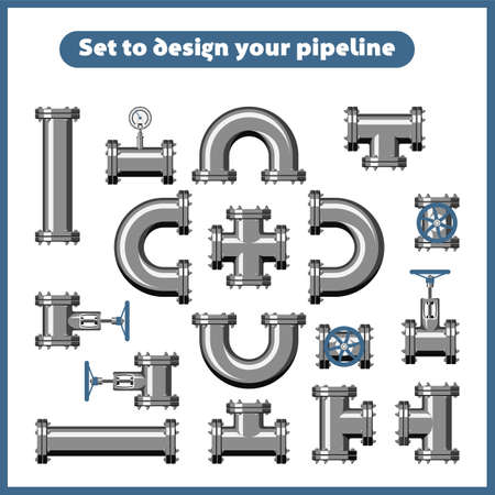 Set to design pipeline: pipes, taps, manometers. Vector illustrations in flat style isolated on a white background.