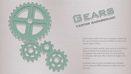 Gears 3d background. Engineering vector illustration. Abstract background for the technical site page: support, engineering, development, other. 16: 9 Aspect Ratio. Editable strokes.