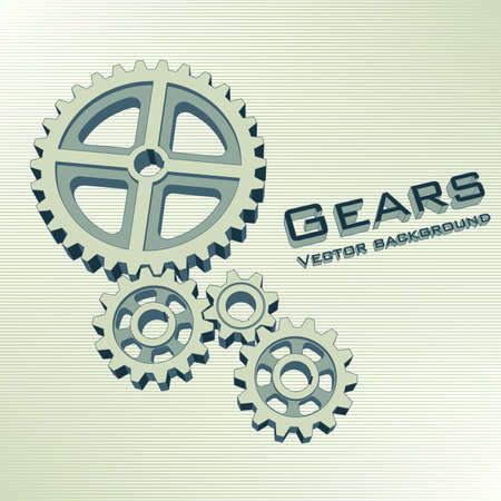 Gears 3d green background. Engineering vector illustration. Abstract background for the technical site page: support, engineering, development, other. Editable strokes. Ilustração