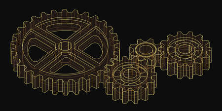 Isometric 3d drawing of gears. Yellow lines on a black background. Vector illustration. Editable strokes.
