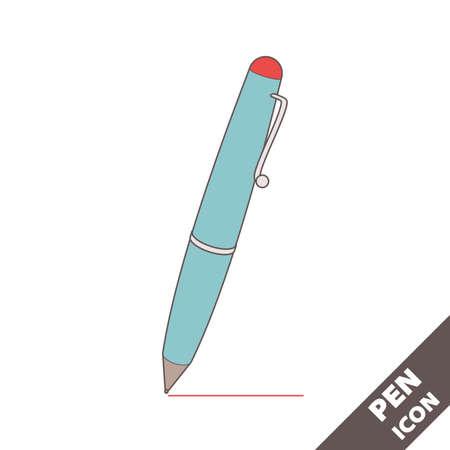 Ballpoint pen icon. Cartoon blue 3D vector illustration in flat style on white background. Editable strokes.