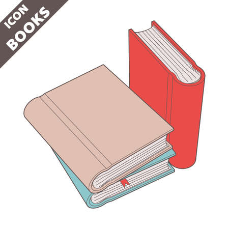 Stack of books icon. 3D vector illustration in flat style isolated on white background. Icon for the Help, About, Info, Data menu or others. Editable strokes.
