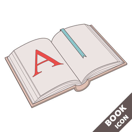 Open book icon with A on the page and a bookmark. Cartoon 3D vector illustration in flat style on white background.