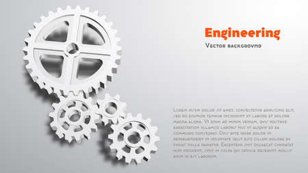 Gears 3d grayscale background. Engineering vector illustration. Abstract background for the technical site page: support, engineering, development, other. 16: 9 Aspect Ratio.