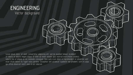 Isometric 3d drawing of gears background. White lines on a black background. Vector illustration. 16: 9 Aspect Ratio. Editable strokes.