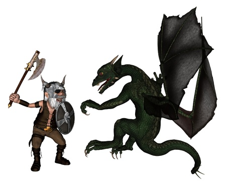 Toon Viking warrior with an axe fighting a dragon, 3d digitally rendered illustration illustration