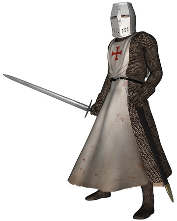 frayed: Early Medieval Templar Knight in chain mail and tabard of the order of the Knights of the Temple of King Solomon, 3d digitally rendered illustration Stock Photo