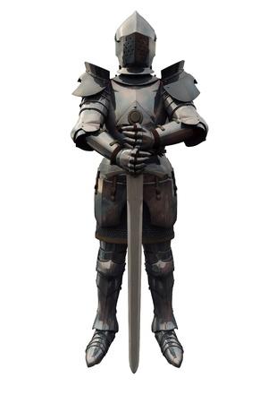 caballero medieval: Caballero Medieval finales de siglo XV en norte italiano armadura de milan�s con espada, ilustraci�n procesada digitalmente 3d