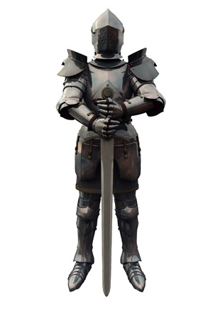 Fifteenth Century late Medieval Knight in Northern Italian Milanese Armour with sword, 3d digitally rendered illustration Stock Illustration - 9685251