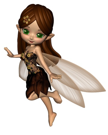 faerie: Cute toon fairy in a brown and gold flower dress with gossamer wings, 3d digitally rendered illustration