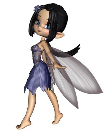 hadas caricatura: Alas de hadas toon Linda en un vestido de flores azules con Amalthea, 3d digitalmente prestados ilustración