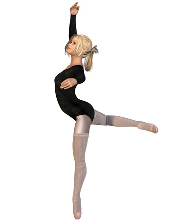 Young ballerina in attitude position, 3d digitally rendered illustration illustration