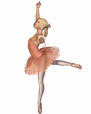 Young ballerina wearing a pink classical tutu in attitude position, 3d digitally rendered illustration Stock Photo