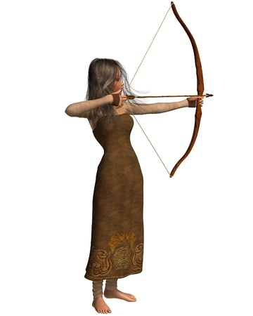 dark elf: Wood elf archer girl with bow and arrow, 3d digitally rendered illustration isolated on white Stock Photo