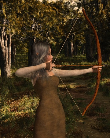 hair bow: Wood elf archer girl with bow and arrow in a sunlit forest, 3d digitally rendered illustration