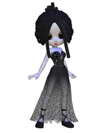 goth: Cute Toon Vampire woman in a gothic style lace cobweb dress for Halloween, 3d digitally rendered illustration Stock Photo