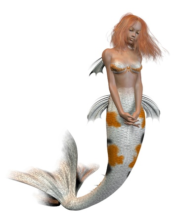 auburn: Pretty ginger haired mermaid with koi scales pattern, 3d digitally rendered illustration
