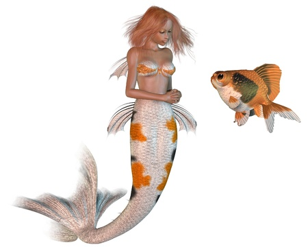 auburn: Pretty ginger haired mermaid with koi scales pattern and goldfish, 3d digitally rendered illustration