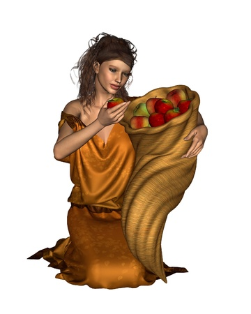 golden apple: Pomona the ancient Roman goddess of orchards and fruitful abundance carrying a horn of plenty filled with apples, 3d digitally rendered illustration