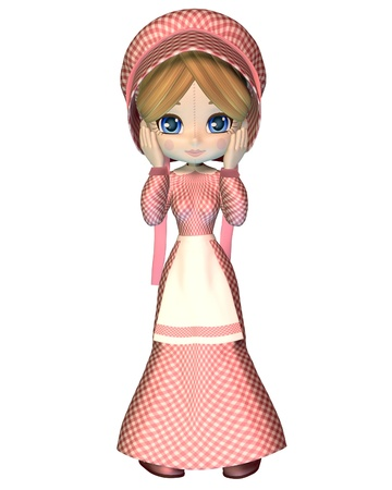 pinafore: Cute toon rag doll dressed in a pink gingham dress and bonnet with ribbons, 3d digitally rendered illustration