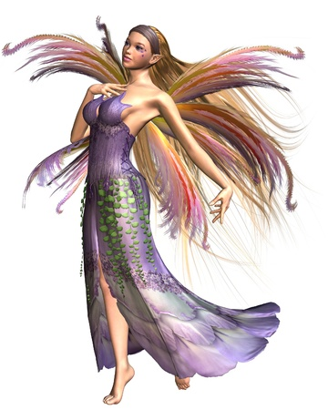 Fairy summer spirit dressed in pink, lavender and green spring colours with wispy rainbow wings, 3d digitally rendered illustration illustration