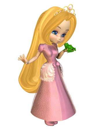 Cute toon fairytale princess in a pink dress and gold tiara kissing a frog, 3d digitally rendered illustration illustration