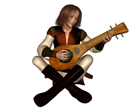 tunic: Young Medieval minstrel sitting playing his lute, 3d digitally rendered illustration