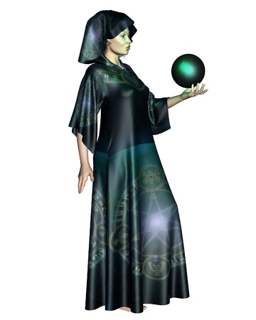 3d witch: Female mystic in robes with arcane symbols holding a glowing cystal ball, 3d digitally rendered illustration