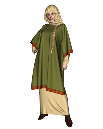 middle age woman: Anglo-Saxon, Viking, or Early Medieval woman wearing a green embroidered tunic and head cloth, 3d digitally rendered illustration
