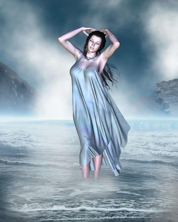 afrodite: La nascita di Venere, la Dea dell'Amore dalla schiuma della riva del mare, 3d digitale reso illustrazione