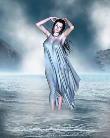 roman mythology: The birth of Venus the Goddess of Love from the foam of the sea shore, 3d digitally rendered illustration Stock Photo