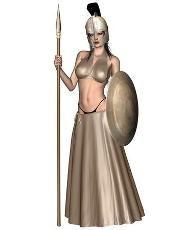 Palas Atenea la Diosa griega de la sabidur�a, la civilizaci�n, la guerra, la fuerza, la estrategia, la justicia artes femeninas, la artesan�a y la habilidad (romana Minerva), 3d rindi� la ilustraci�n digital Foto de archivo - 11109847