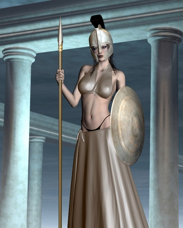 spear: Pallas Athene the Greek Goddess of wisdom, civilization, warfare, strength, strategy, female arts, crafts, justice and skill (Roman Minerva) standing in her temple, 3d digitally rendered illustration