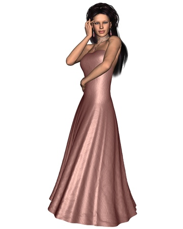 dark haired woman: Beautiful dark haired woman wearing a pink silk evening dress, 3d digitally rendered illustration