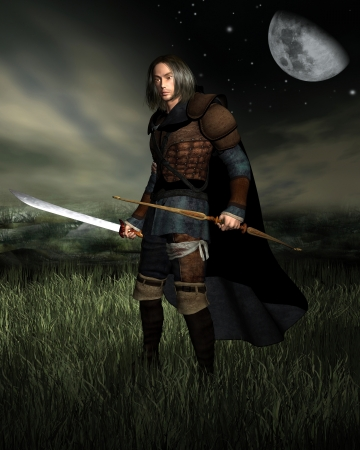 long night: Hunter with bow and sword standing in moonlit grasslands, 3d digitally rendered illustration Stock Photo